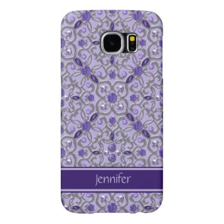 Purple Amethyst Silver Jewels Bling Monogram Samsung Galaxy S6 Case