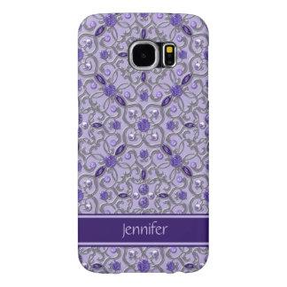 Purple Amethyst Silver Jewels Bling Monogram Samsung Galaxy S6 Cases