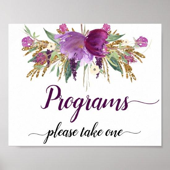 Purple Amethyst Sparkles Wedding Programs Sign