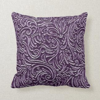 Purple Amethyst Vintage Tin Tile Look Rustic Home Throw Pillow