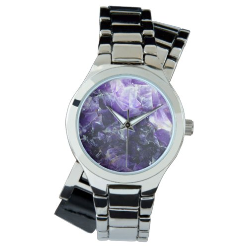 Purple amethyst wristwatch