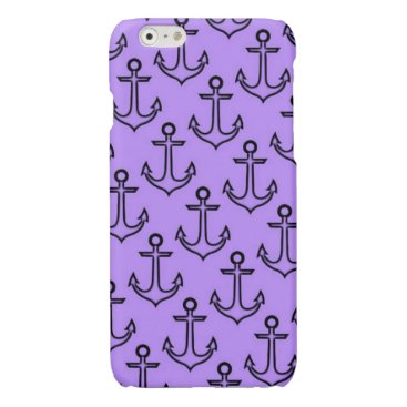 Beach Themed Purple Anchor iPhone 6/6s Glossy Finish Case