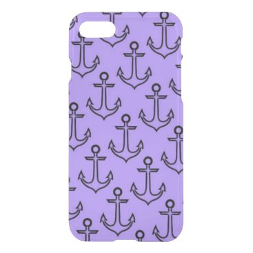 Beach Themed Purple Anchor iPhone 8/7 Clearly™ Case