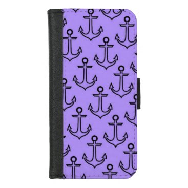 Beach Themed Purple Anchor iPhone 8/7 Wallet Case