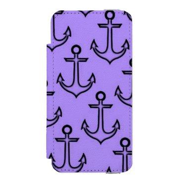 Beach Themed Purple Anchor iPhone SE5/5s Incipio Wallet Case