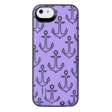 Beach Themed Purple Anchor iPhone SE/5/5s Battery Case