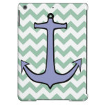 Purple Anchor on Green and White Chevron iPad Air Cases
