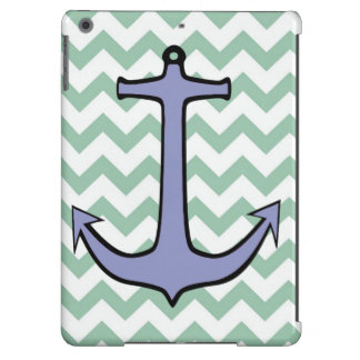 Purple Anchor on Green and White Chevron Cover For iPad Air