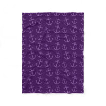 Purple anchor pattern fleece blanket