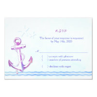 Purple Anchor   Starfish Beach Wedding RSVP Card