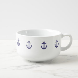 Purple Anchors Soup Bowl With Handle