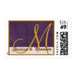 Purple and Antique Gold Wedding Monogram Stamps