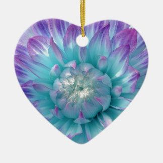 Purple and Aqua Blue Dahlia V004 Double-Sided Heart Ceramic Christmas Ornament