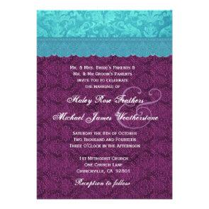 Purple and Aqua Blue Damask Wedding G500C Custom Announcement
