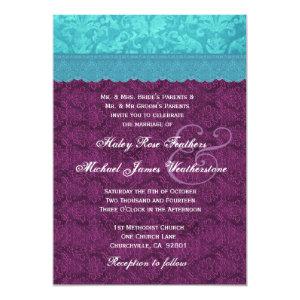 Purple and Aqua Blue Damask Wedding G500C 5x7 Paper Invitation Card