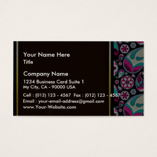 Purple and aqua blue damask wedding gift business card