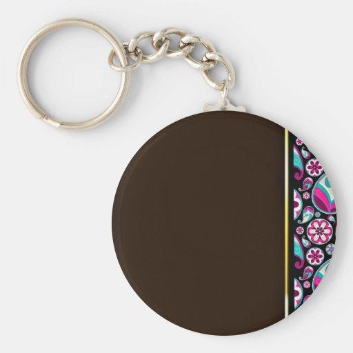 Purple and aqua blue damask wedding gift basic round button keychain