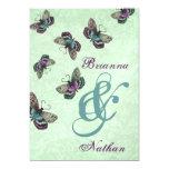 Purple and Aqua Butterflies Wedding Invitation