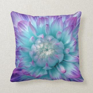 Purple and Aqua Colored Dahlia Throw Pillow