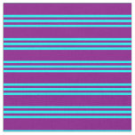 [ Thumbnail: Purple and Aqua Colored Lines/Stripes Pattern Fabric ]