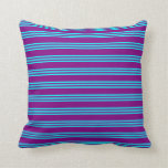 [ Thumbnail: Purple and Aqua Colored Lines/Stripes Pattern Throw Pillow ]