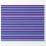 [ Thumbnail: Purple and Aqua Colored Lines/Stripes Pattern Wrapping Paper ]