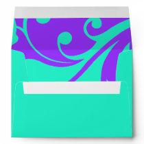 Purple and Aqua Contemporary Swirls Envelope