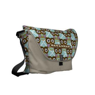 Purple and Aqua Cute Owl Pattern You Choose Colors Messenger Bag