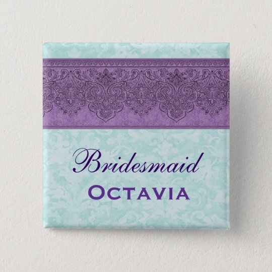 Purple and Aqua Damask Bridesmaid Pinback Button