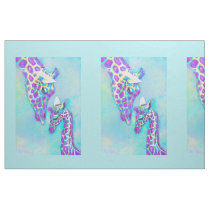 Purple and Aqua Giraffes- large Fabric