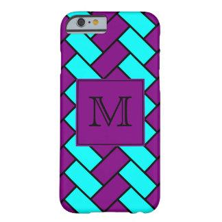 Purple and Aqua Herringbone Monogrammed Barely There iPhone 6 Case