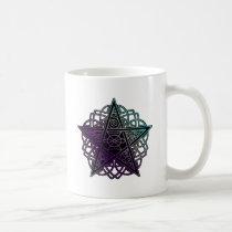 Purple and aqua intricate pentacle coffee mug