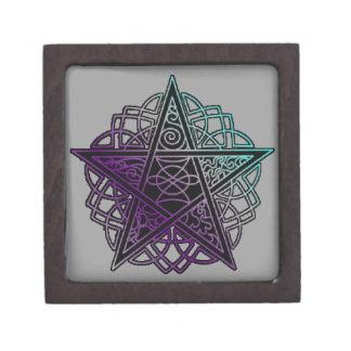 Purple and aqua intricate pentacle keepsake box