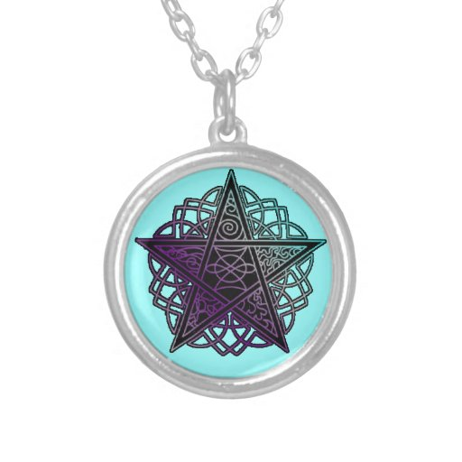 Purple and aqua intricate pentacle necklace