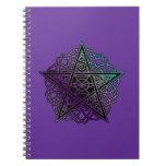 Purple and aqua intricate pentacle notebook