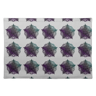 Purple and aqua intricate pentacle placemat
