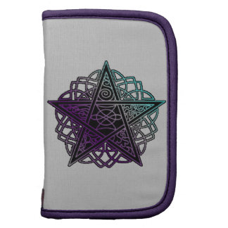 Purple and aqua intricate pentacle folio planner