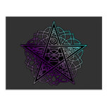Purple and aqua intricate pentacle post cards