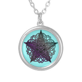 Purple and aqua intricate pentacle round pendant necklace