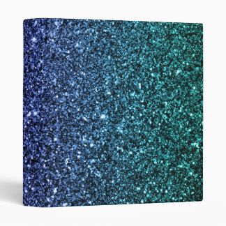 Purple and Aqua Ombre Faux Glitter 3 Ring Binder