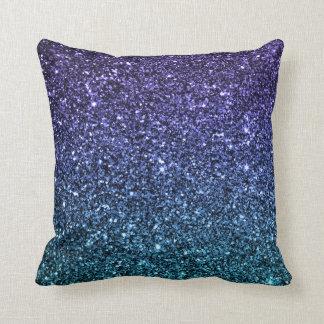 Purple and Aqua Ombre Faux Glitter Pillows