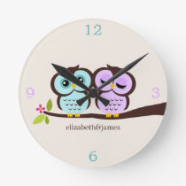 Purple and Aqua Owl Couple Round Clock