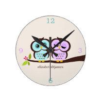 Purple and Aqua Owl Couple Round Clock