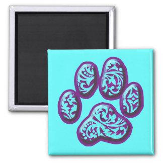 Purple and Aqua Paisley Puppy Print Fridge Magnets