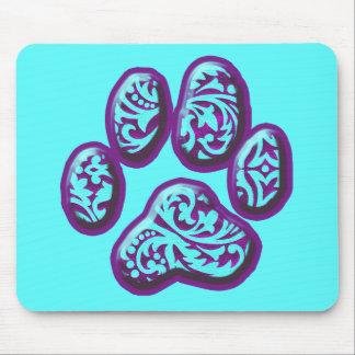 Purple and Aqua Paisley Puppy Print Mouse Pad
