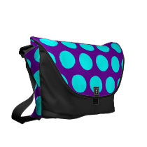 Purple and Aqua Polka Dots Messenger Bag
