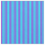 [ Thumbnail: Purple and Aqua Striped Pattern Fabric ]