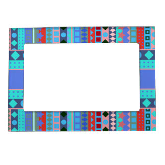 Purple and Aqua Tribal Beat Zigzag Stripes Pattern Magnetic Frame