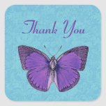 Purple and Aqua Vintage Butterfly Thank You V19A Square Sticker