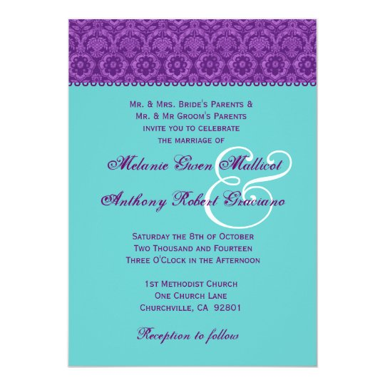 Purple and Aqua Vintage  Damask Wedding Monogram Card